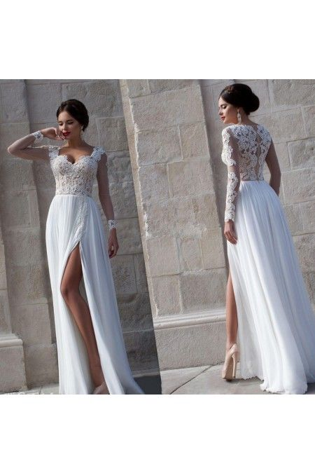 Chiffon Floor-length Natural Long Sleeve Prom Dress #prom #dresses #gowns