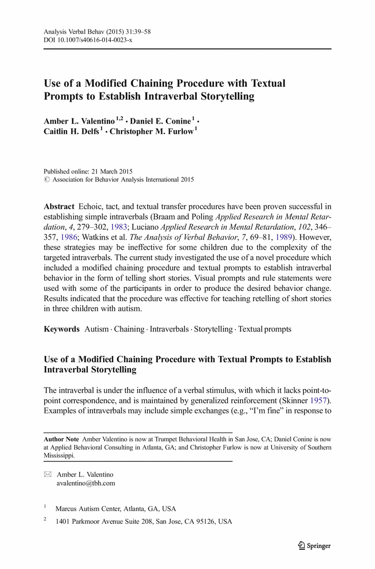 Use of a Modified Chaining Procedure with Textual Prompts
