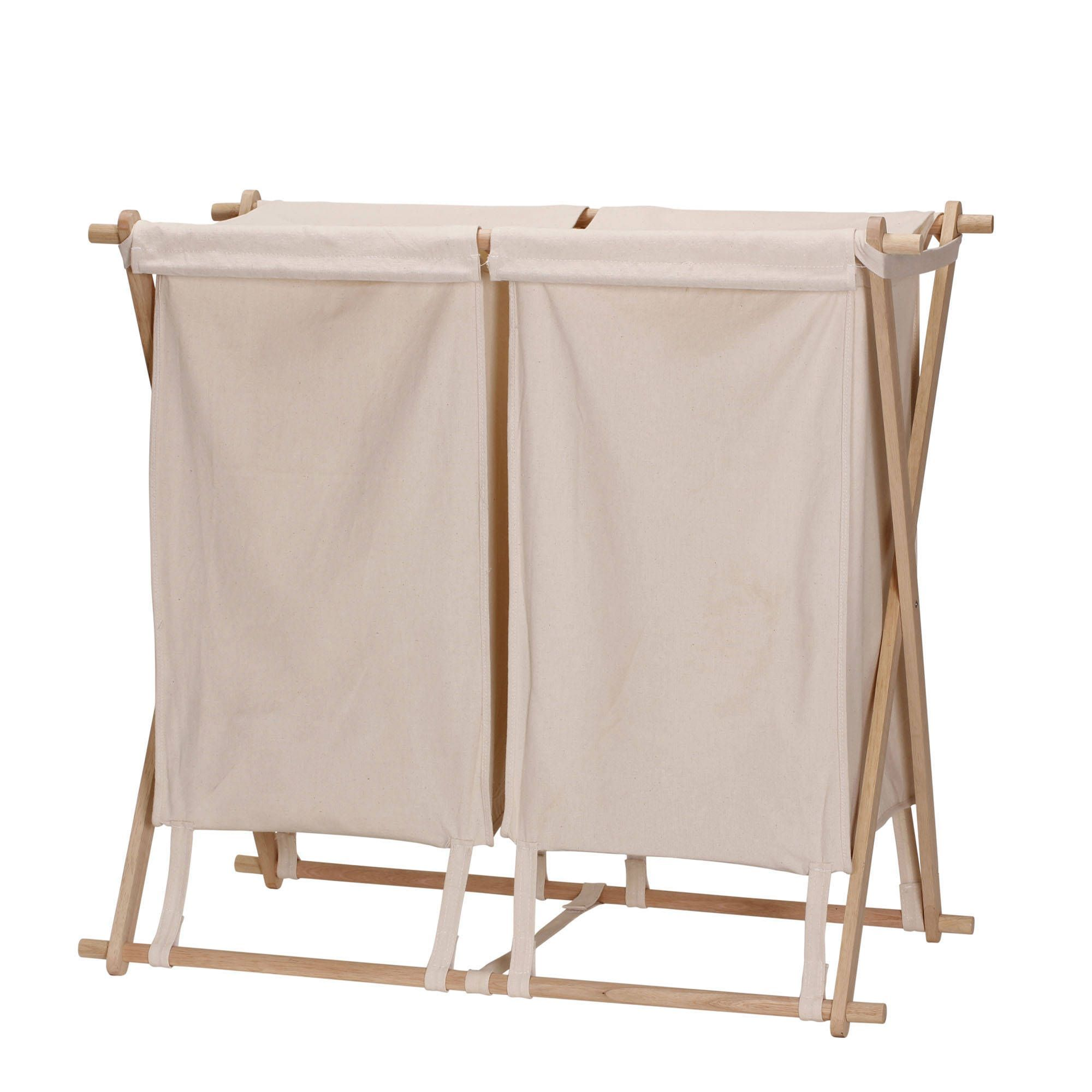 Collapsible Wood X-Frame Double Laundry Hamper Sorter (30H x 30\