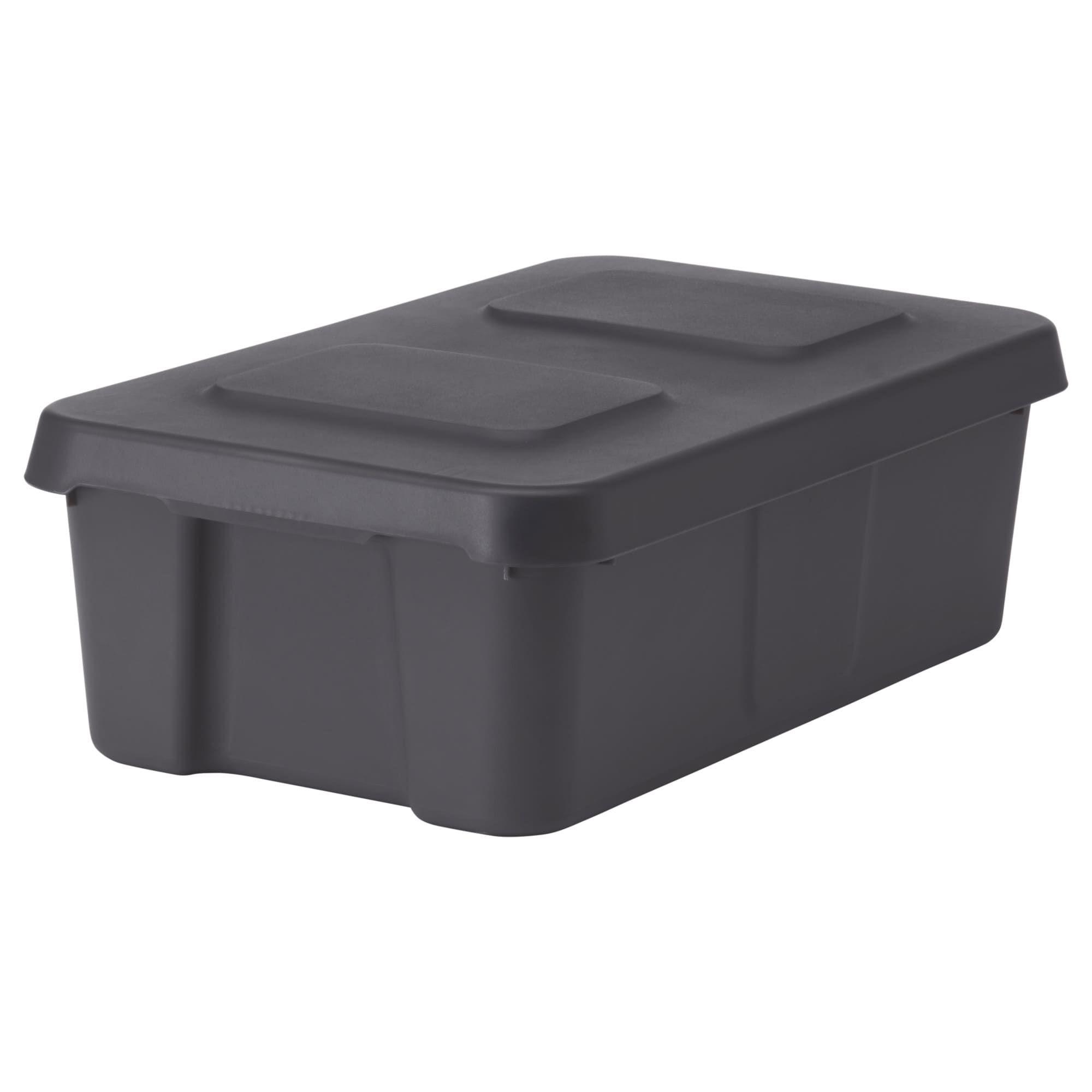 IKEA KLAMTARE Dark Gray Box With Lid, Indoor/outdoor