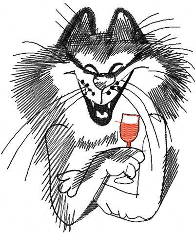 Drinking Cat Free Machine Embroidery Design Borduren Machine Free
