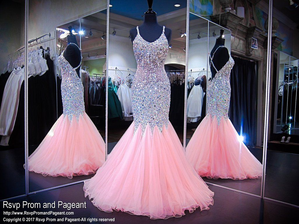 Light Pink Beaded Mermaid Prom Dress | dresses | Pinterest | Prom ...