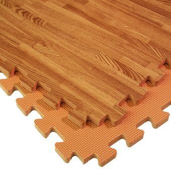 Foam Floor Tile Wood Grain Look With Tan Reversible Interlocking