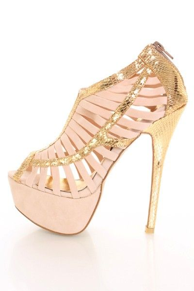 1020e15f7d70 Beige Gold Faux Suede Caged Strappy Snake Skin Trim Platform Heels   Amiclubwear  Heel Shoes online store sales Stiletto Heel Shoes