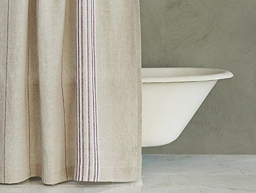 Coyuchi Relaxed Linen Stripe Shower Curtain Natural W Aubergine