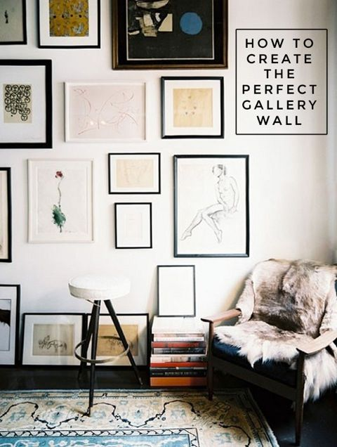 Interior collective has some great tips to create an eye catching photo gallery in your home with multiple shape frames.