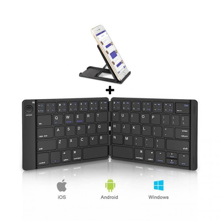 Foldable Bluetooth Keyboard iPhone Tablets and More Black