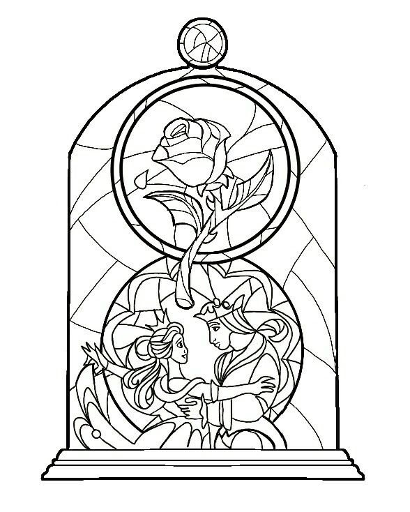 Beauty And The Beast Stained Glass Idea Colour Coming Soon Disney Stained Glass Disney Coloring Pages Coloring Pages