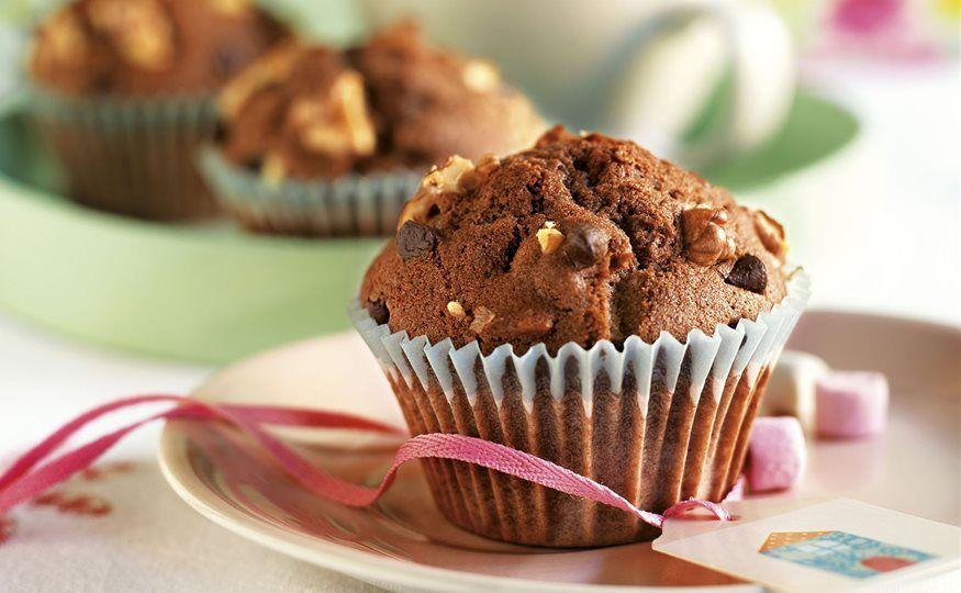 Magdalenas de chocolate y nueces