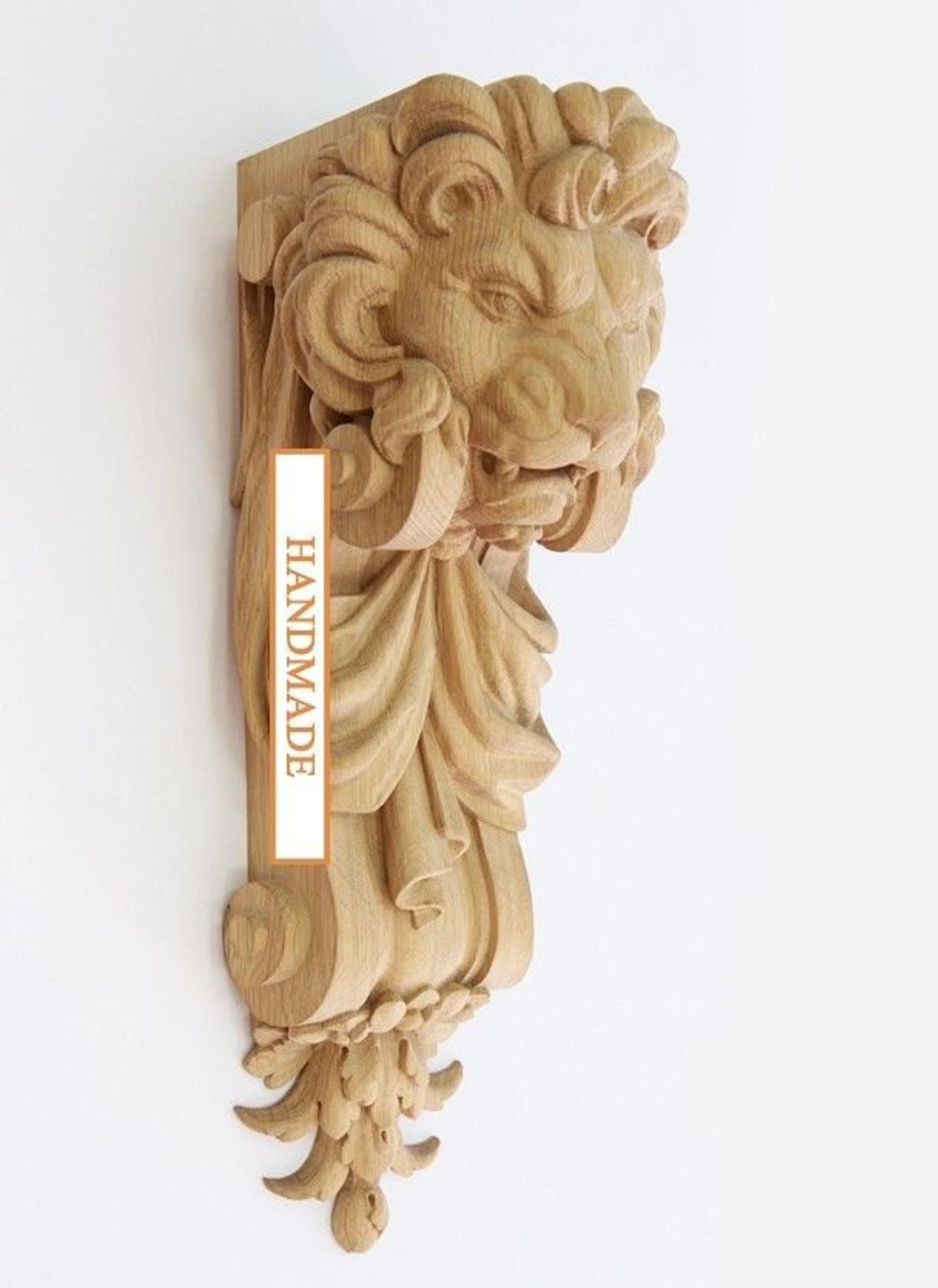 Pair Carved Wooden Corbels Lionunfinished Decorative Kitchen Etsy Corbels Carving Wooden Corbels