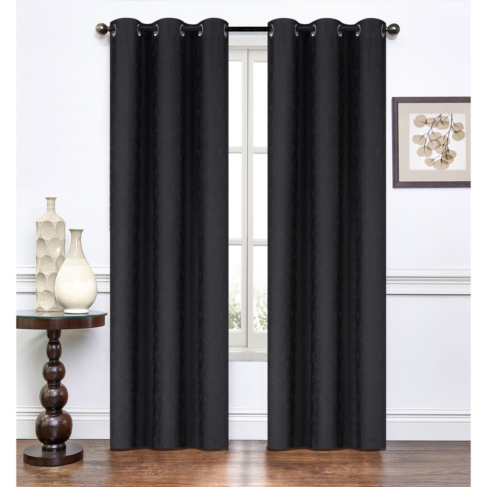 Rt Designers Collection Paradise Jacquard Curtain Panel Pair Black