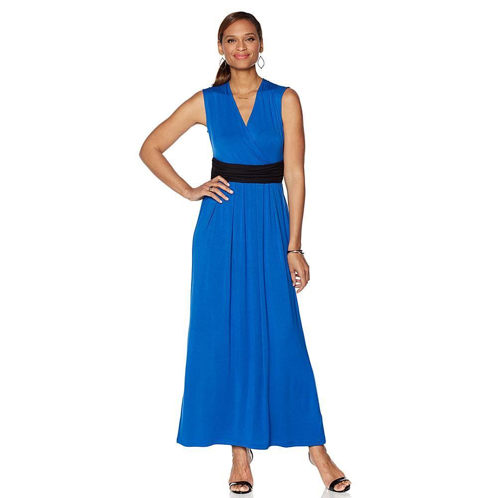 Liz lange maxi dress with slimming waistband rose redblack