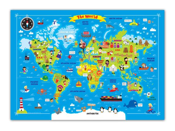 My First World Map By Howdydoodle On Etsy 30 00 Ooooh The