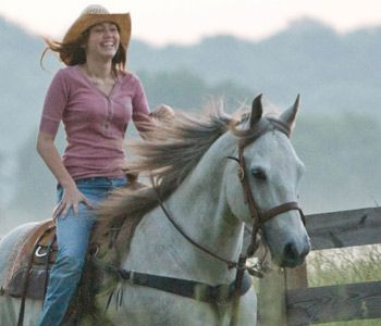 Miley Cyrus Riding For A Hannah Montana Movie She Owns Several