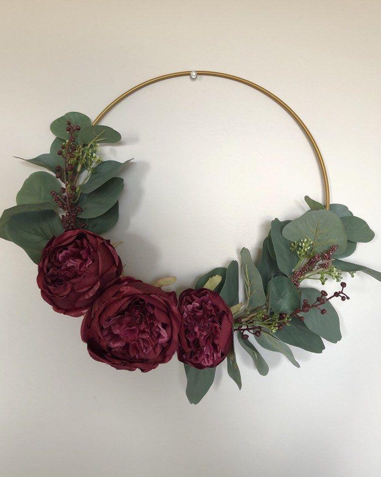 Photo of Burgundy Rose & Eucalyptus Hoop Wreath
