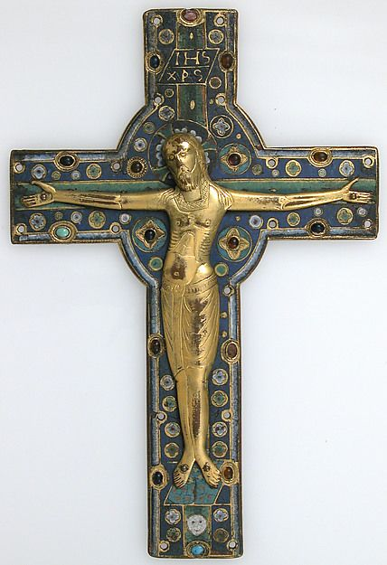 France. Made in Limoges. Crucifix, mid-13th century. Champlevé enamel, copper-gilt Dimensions: 10 3/4 x 7 1/4 in. (27.3 x 18.4 cm) 273 x 184 mm (measure more exactly).
