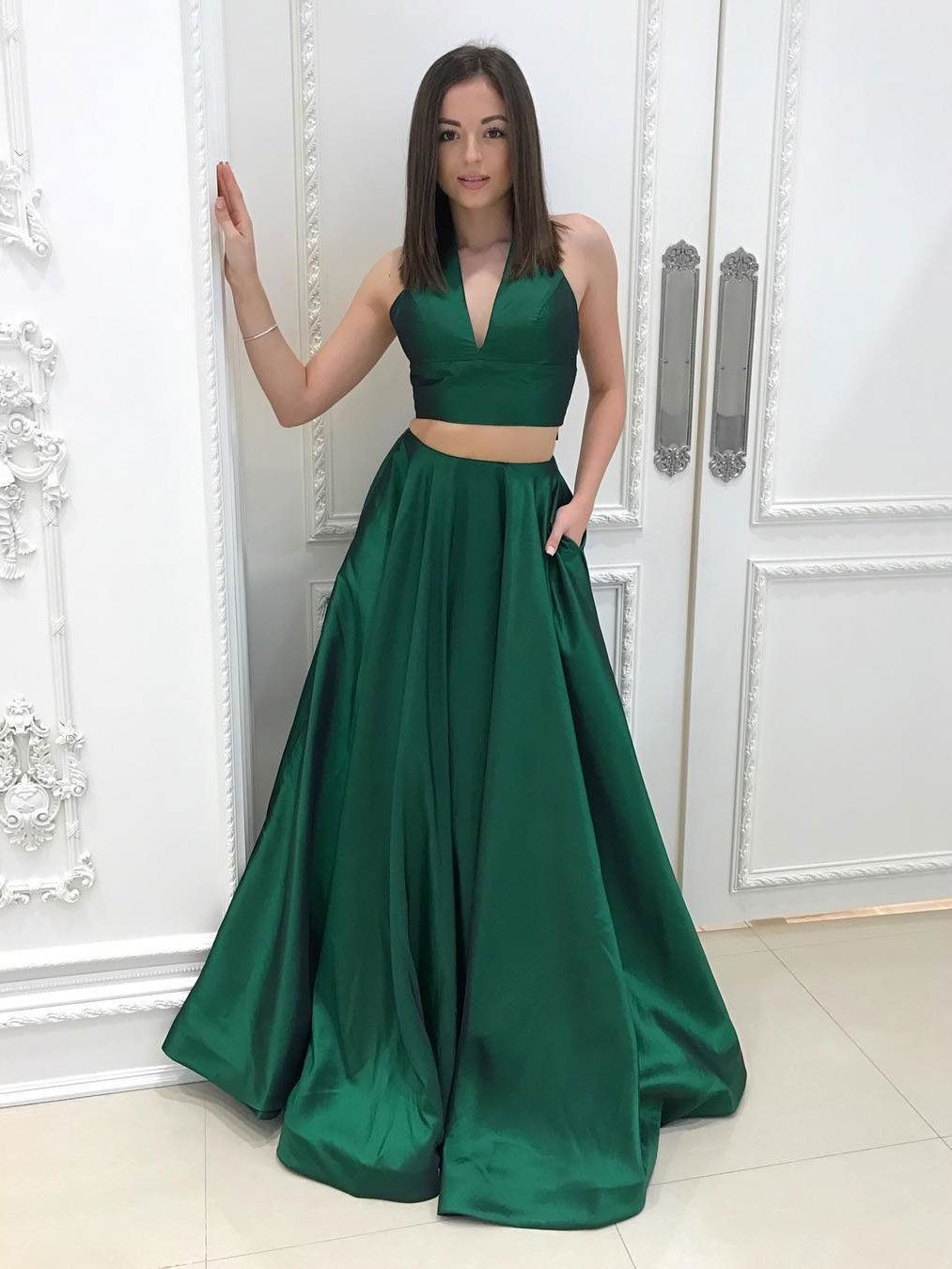 Aline vneck dark green piece cheap long prom dresses apd