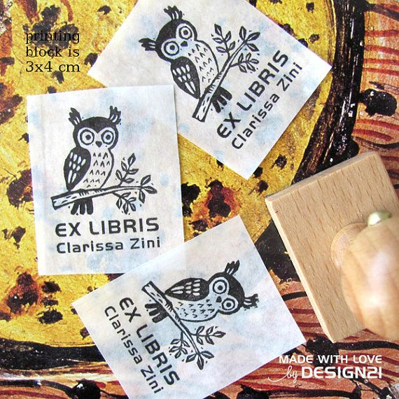 Owl: personalised rubber stamp 3x4 cm by lida21 on Etsy