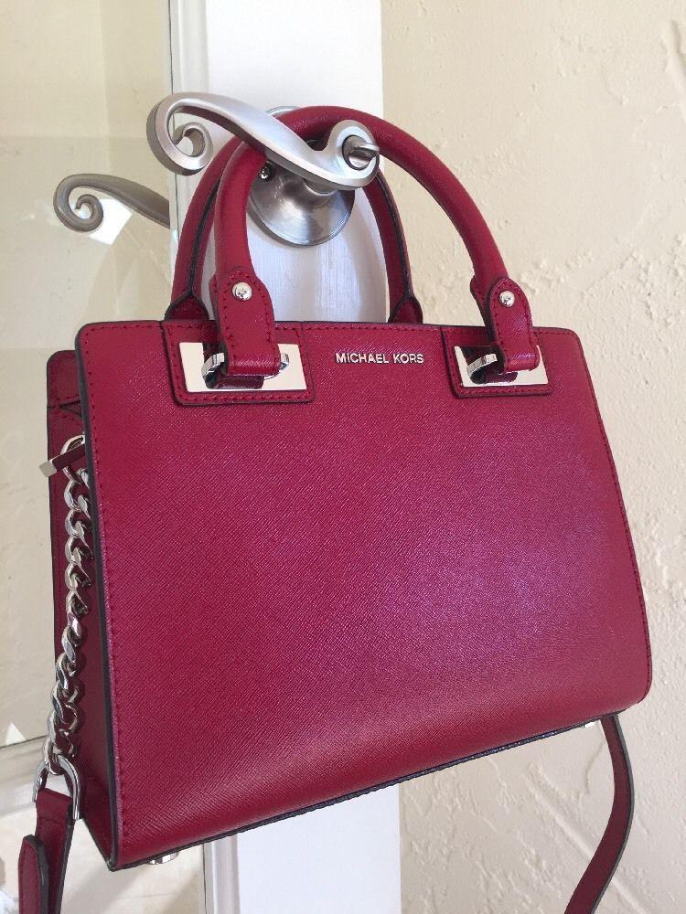 12b7befad602 Michael Michael Kors Quinn Small Satchel Cherry Red Leather