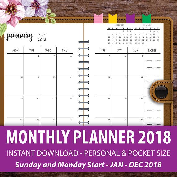 Printable Monthly Planner  Monthly Calendar Planner Filofax