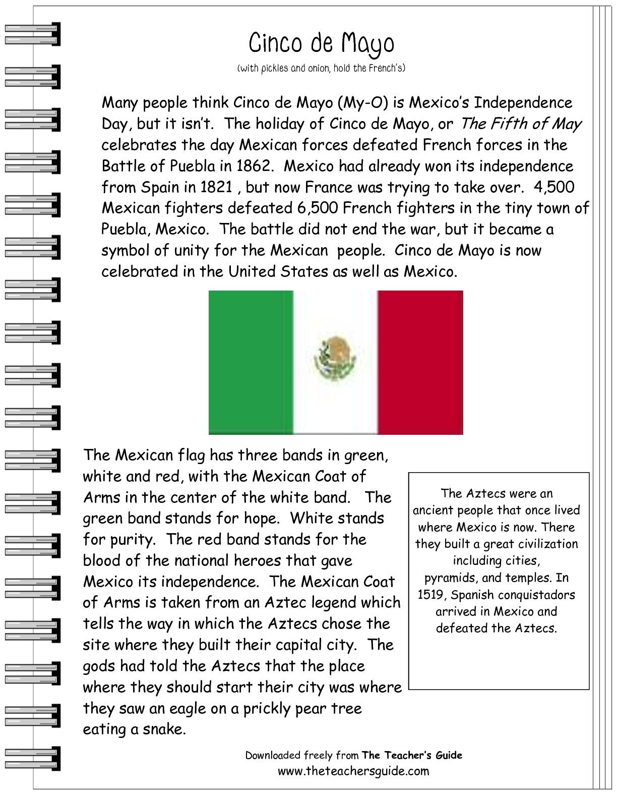 Worksheets 4th Grade Spanish Worksheets cinco de mayo worksheet for kids free teacher stuff squarehead comprehension worksheet