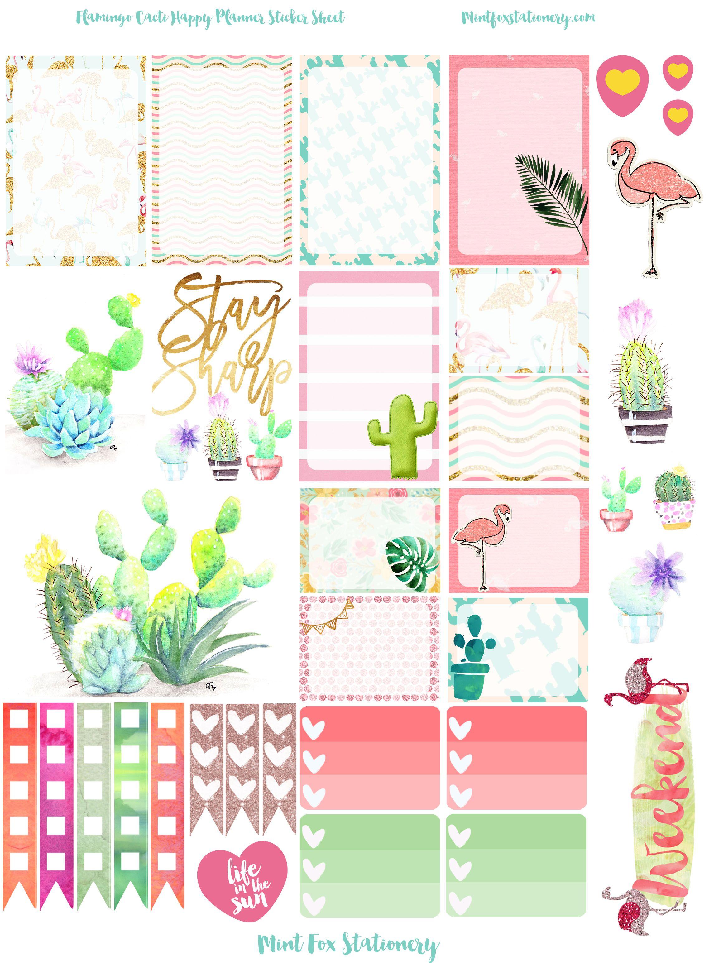 Flamingo Cacti Happy Planner Sticker Sheet At Mint Fox Stationary