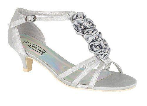 Silver Wedding Sandal Low Heel Or Diamante Flower Evening Sandalssilver