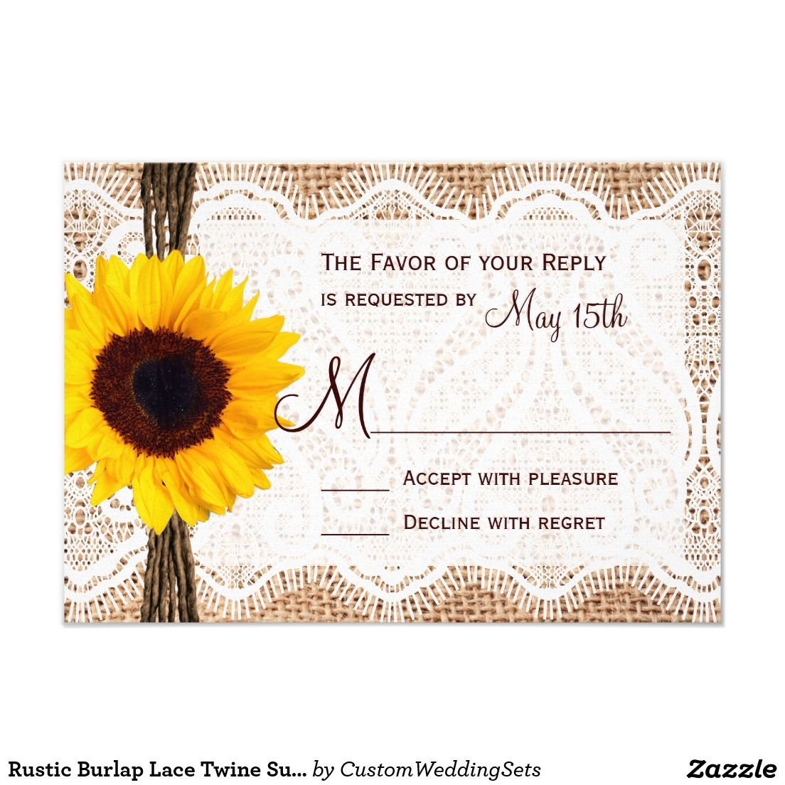 Rustic Burlap Lace Twine Sunflower Wedding RSVP Card. #country ...