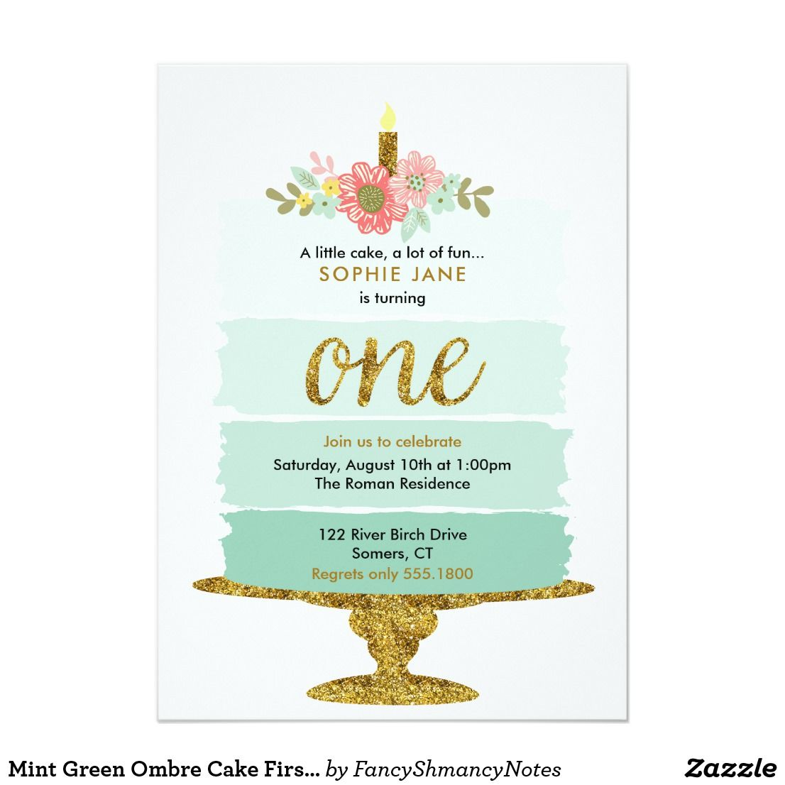Mint green ombre cake first birthday invitation birthday mint green ombre cake first birthday invitation stopboris Image collections