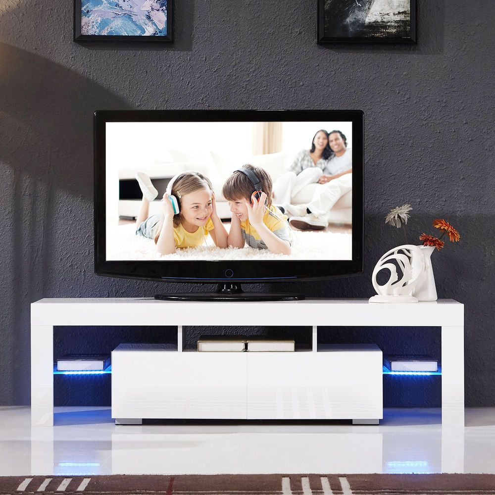 High gloss white tv stand unit cabinet wled shelves 2 drawers high gloss white tv stand unit cabinet wled shelves 2 drawers console furniture in geotapseo Image collections