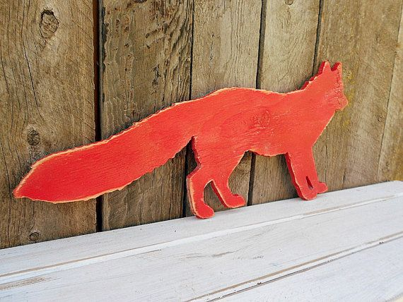 Fox Wall Art large cut-out red fox -wall art- distressed wood silhouette sign