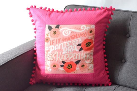 Homebody Gift, Funny Throw Pillow, Pink Quote Pillow, Dorm Decor, Pom Pom Pillow, Square Pillow Cove