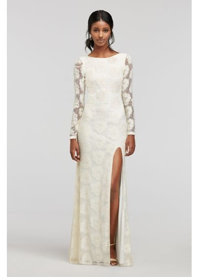 longsleeve lace dress with side slit at davids bridal