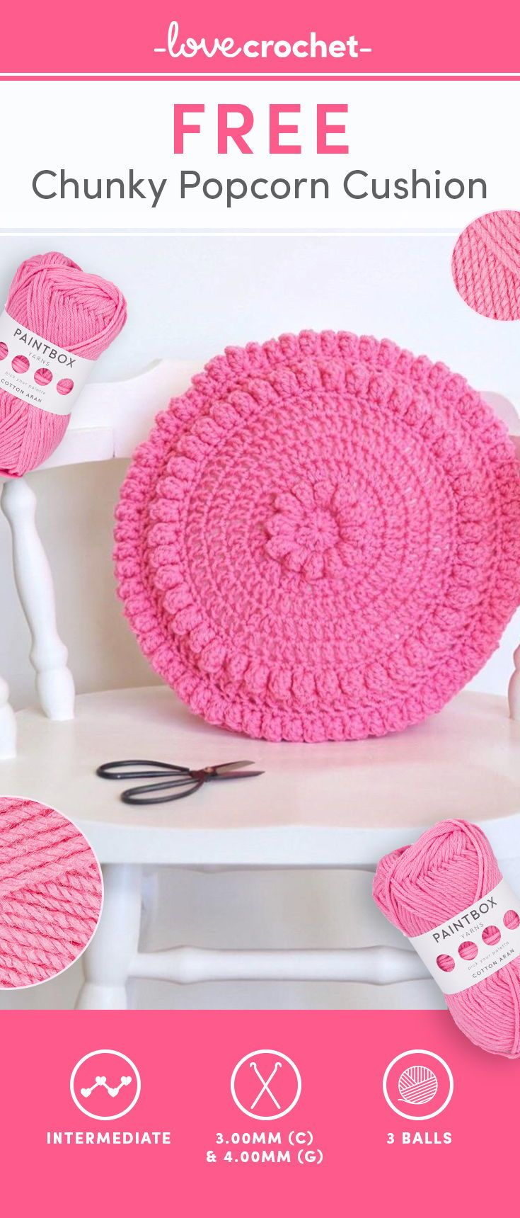 FREE Pattern alert!! This super cute popcorn cushion will be your ...