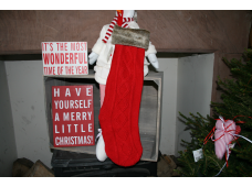 Shabby Chic Vintage Red Knitted Christmas Stocking