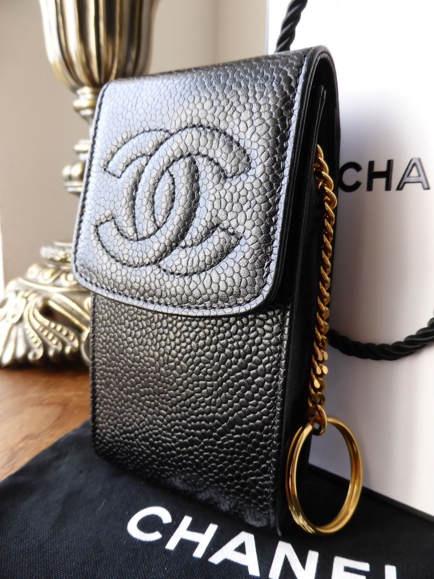 fbd8e40e920c Chanel Phone Case Pouch in Black Caviar with Gold Keyring  gt  http
