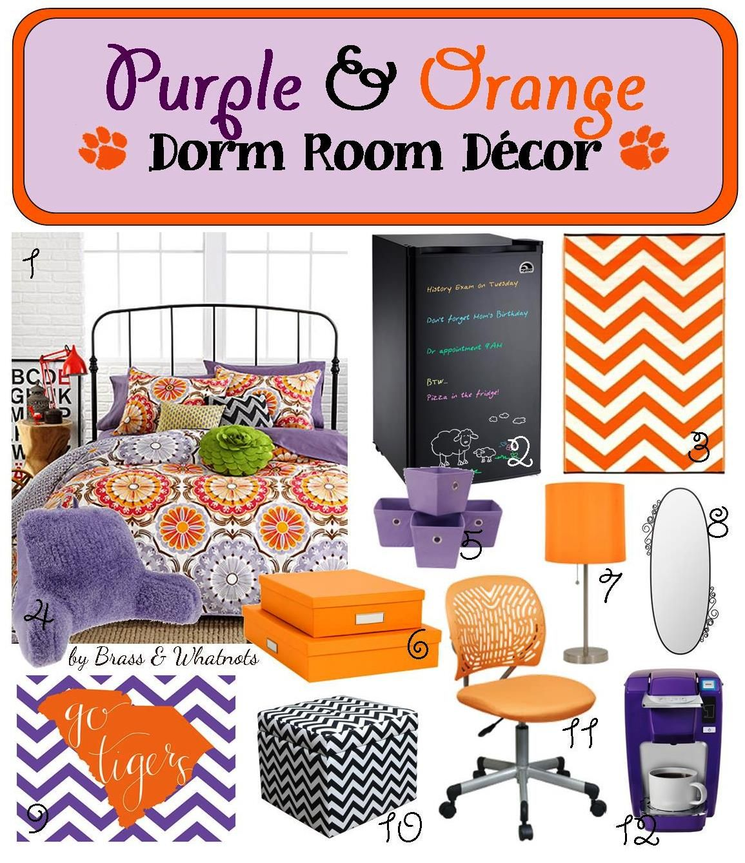 Purple And Orange Bedroom Decor Purple Orange Clemson Dorm Room Decor Brass Whatnots