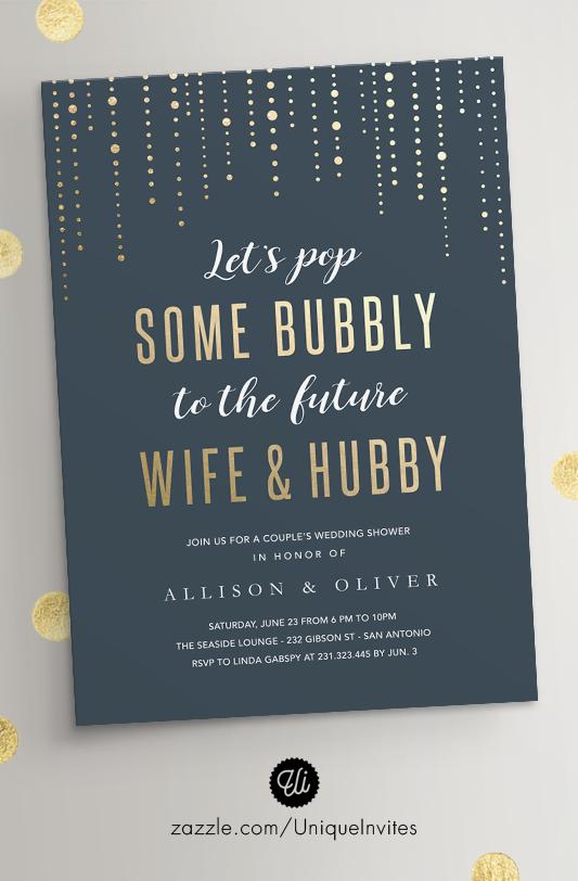 Wedding Shower Invitations Bubbly Faux Gold Foil Pinterest