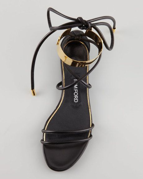 6ba6685aaab33 Tom Ford Brass Ankle Wrap Flat Sandal in Black - Lyst