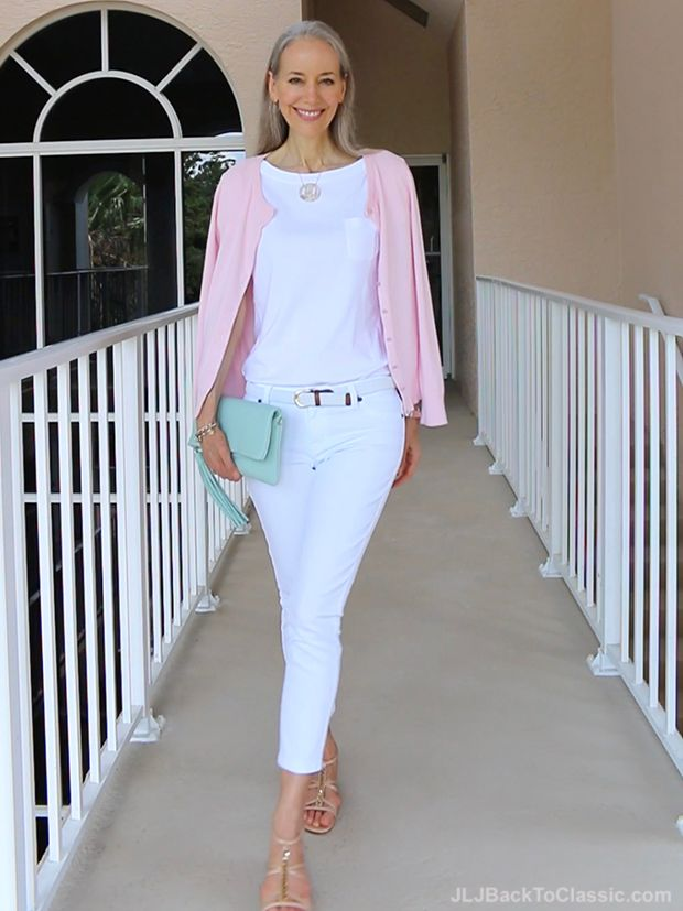 90fbfa4fe4d Classic-Fashion-Over-40-Pink-Talbots-Cardigan-White-Jeans -Gigi-NY-Azure-Clutch