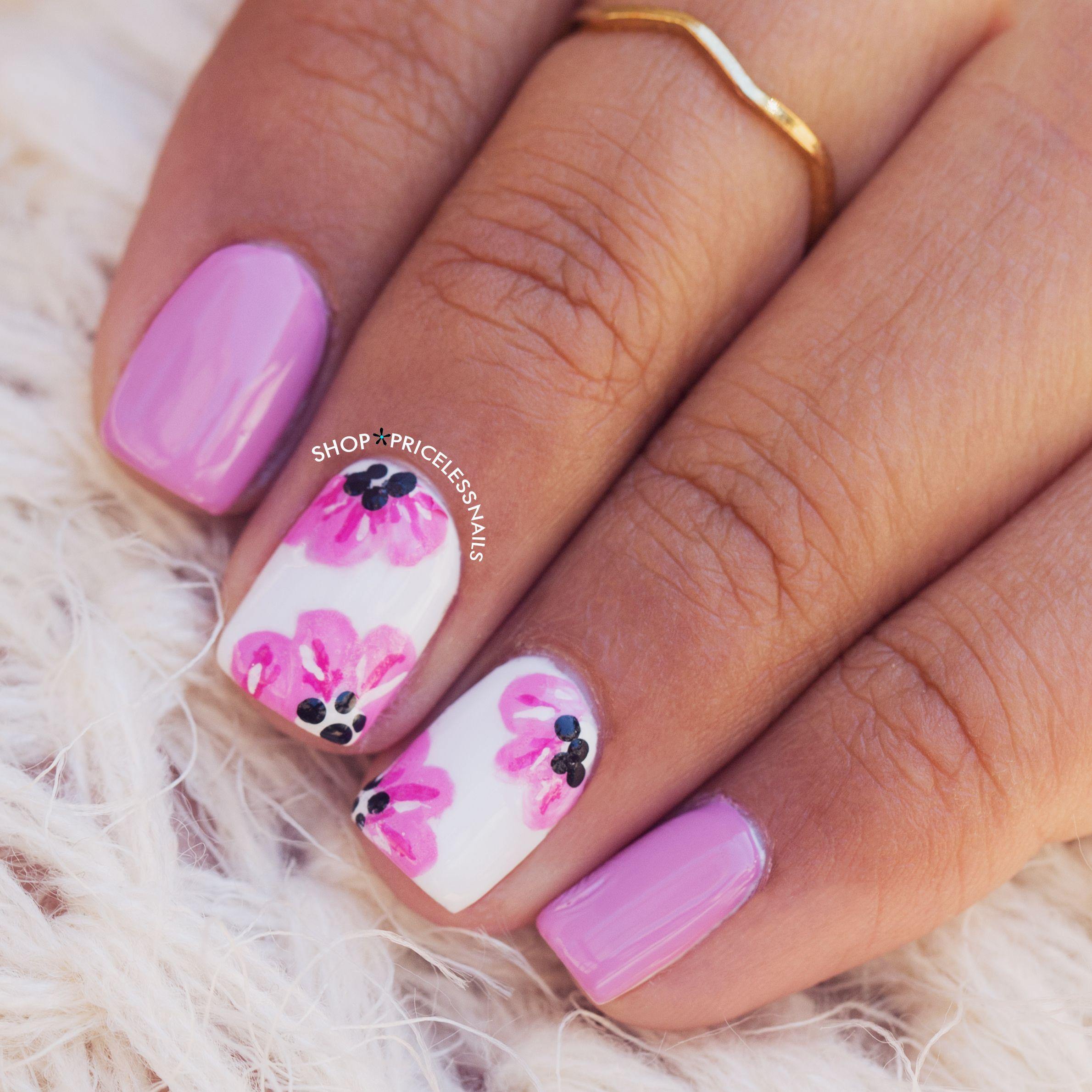 Lilac & pink floral nails   Nails   Pinterest   Nagelschere