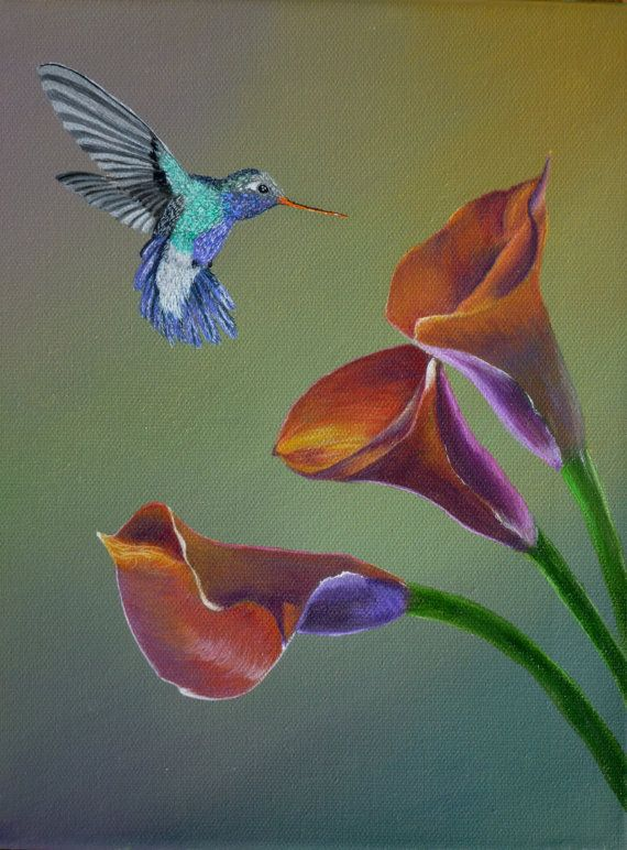 Bird Painting Calla Lillies & Hummingbird  by SmallTownTraditions