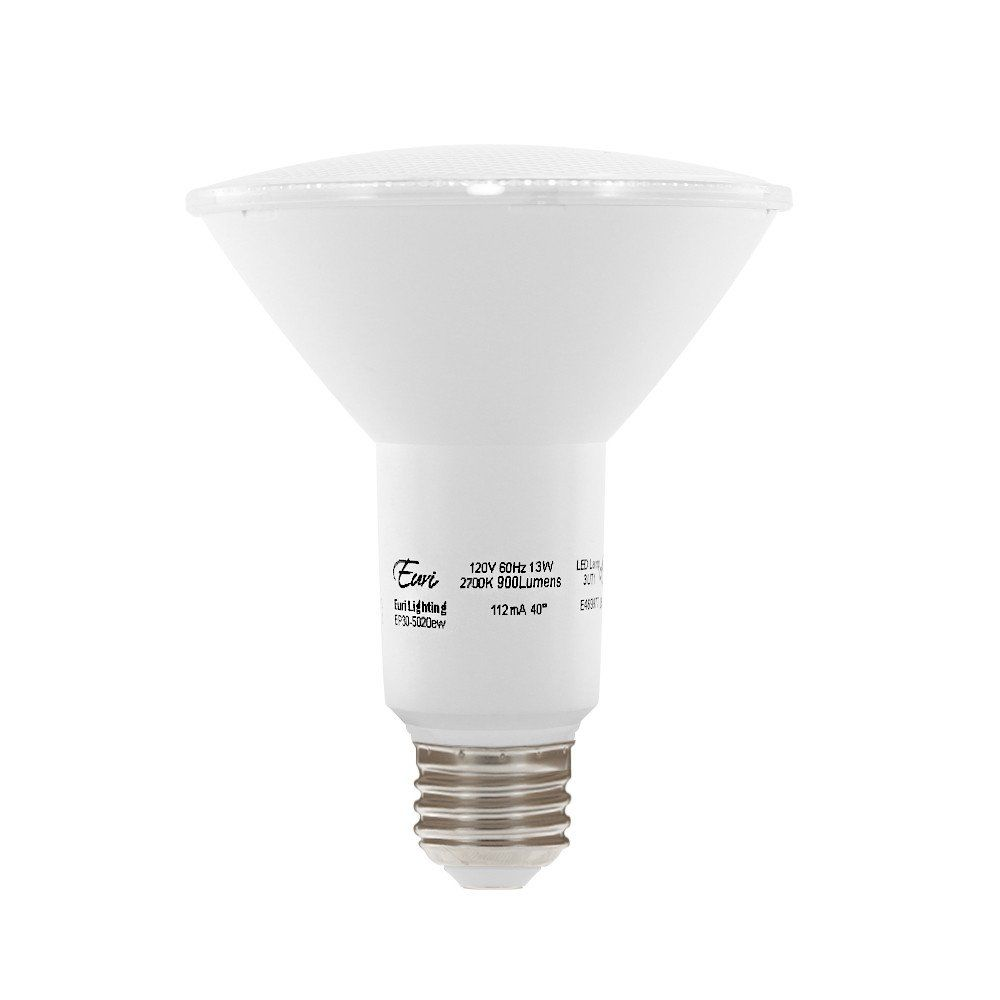 Euri Lighting Ep30 5020ew Led Par30 Bulb Everyday Line Warm White 2700k Dim 13w 75w Equiv 900 Lm Wet Rated 90 Cri 40 Beam Angle Bulb Led Flood Led