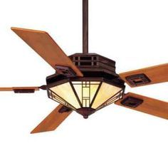 Prairie Style Ceiling Fans Mission Fan With Amber Shade And Teak