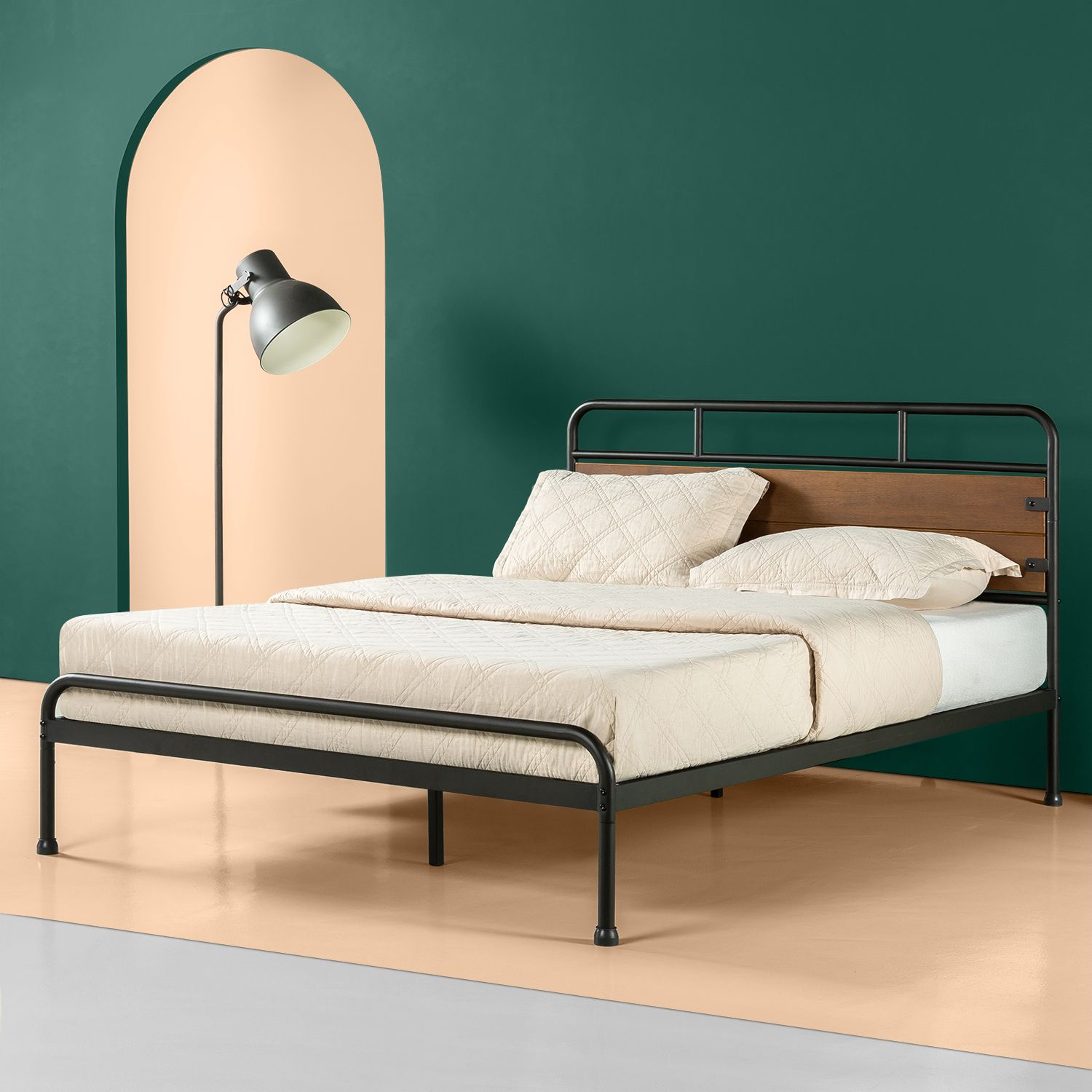 Zinus Eli 41 Metal And Wood Platform Bed Queen Walmart Com