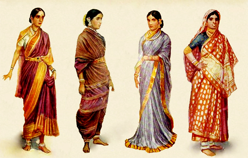Watercolor illustrations of different styles of sari & clothing worn by women in South Asia, 1928.