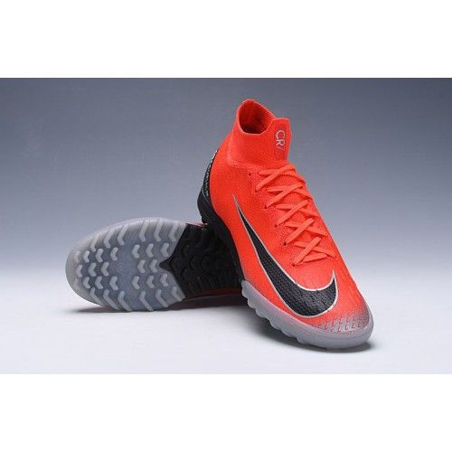 Botas De Futbol Nike Mercurial SuperflyX VI Elite CR7 TF Crimson Negro  Cromado Gris visit us b0a0de8958b