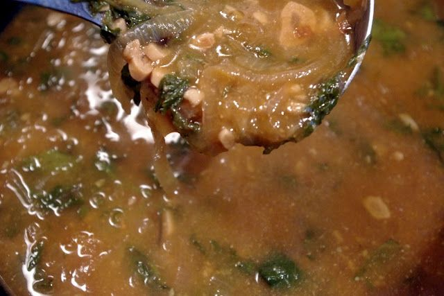 Caramelized Onion and Garlic Soup with Miso and Kale #vegan