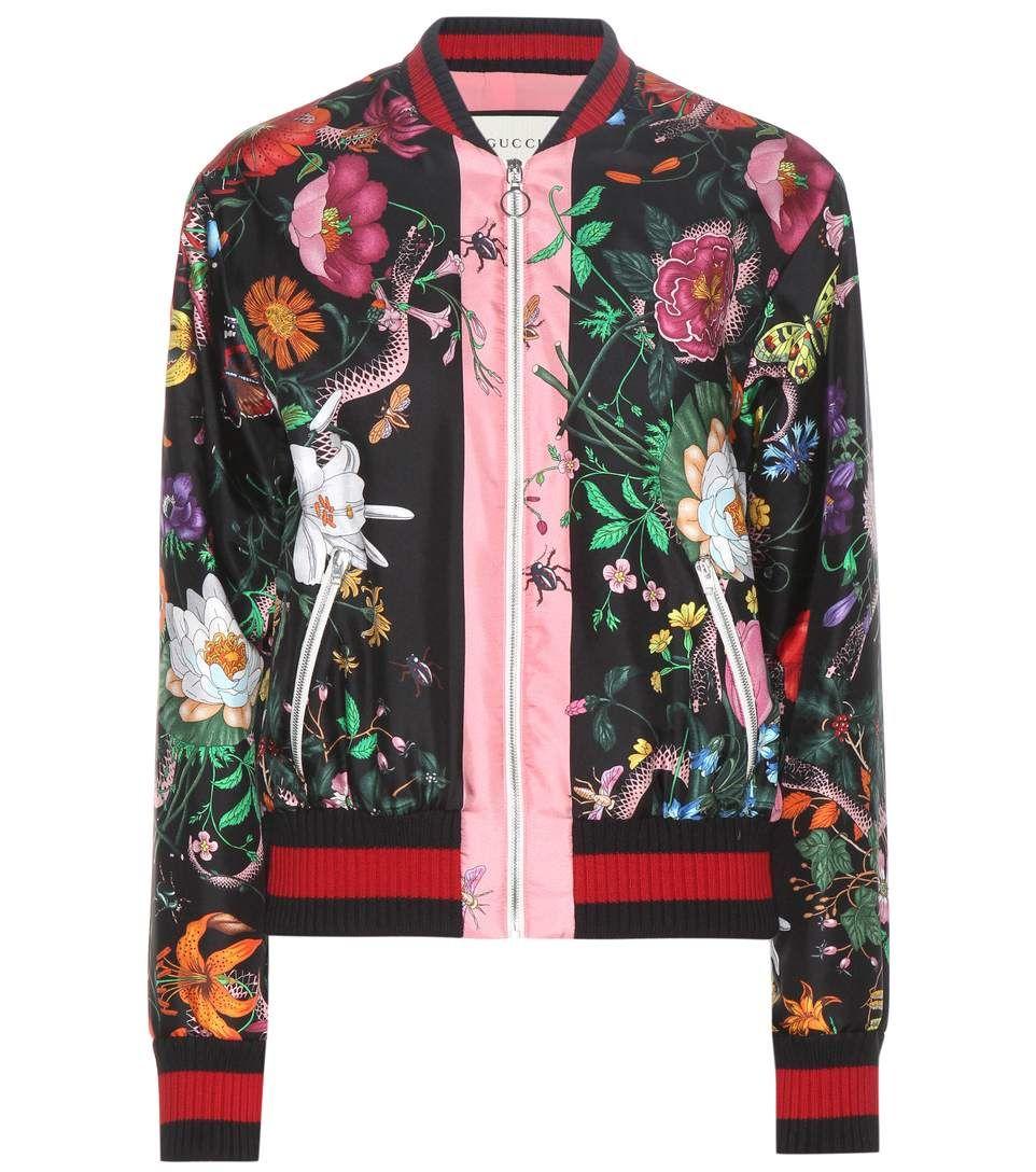 Gucci Floral Printed Silk Twill Bomber Jacket In Blue Modesens Bomberjacke Jacken Mode [ 1088 x 962 Pixel ]