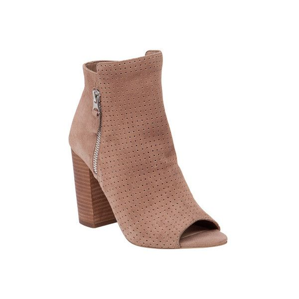 Women's Jessica Simpson Keris Open Toe Bootie - Totally Taupe Split... ($78) ❤ liked on Polyvore featuring shoes, boots, ankle booties, casual, casual shoes, grey, peep toe booties, grey suede booties, grey ankle boots and suede ankle boots
